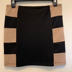 NWT LUSH Black & Camel Mini Skirt.  Size M